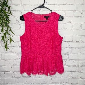 NEW J Crew hot pink lace peplum top size 8